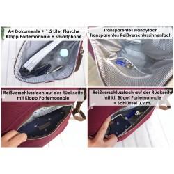 Zip Tasche  -Vögel Weiß/Nachtblau/Braun-