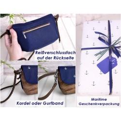 Klapp Portemonnaie -Vögel Weiß/Petrol/Braun-