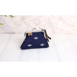 Kleines Bügel Portemonnaie -Papierboot Weiß/Nachtblau-