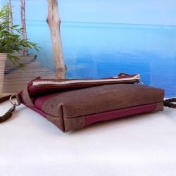 Foldover Tasche -Papierboot Gold/Nachtblau/Cognac-
