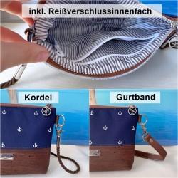 2 in 1 Tasche -Anker Weiß/Nachtblau/Braun-