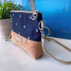 2 in 1 Tasche -Anker Weiß/Bordeaux/Braun-