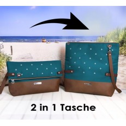 2 in 1 Tasche -Anker Weiß/Petrol/Braun-