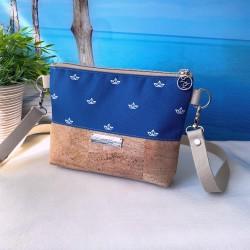 2 in 1 Tasche -Papierboot Weiß/Nachtblau/Braun-