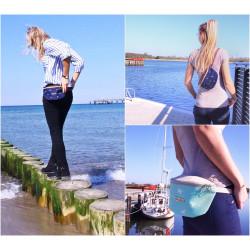 Foldover Tasche -Vögel Weiß/Nachtblau/Braun-